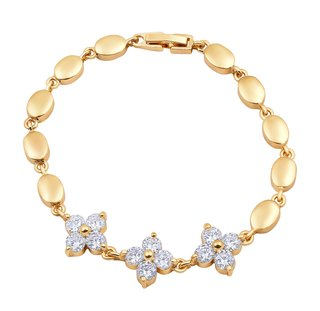 Asmitta Beguiling Flower Shape Stone Gold Plated Bracelet For Women