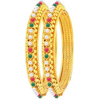 Asmitta Lavish Gold Plated Fancy Stone Bangle Set For Women
