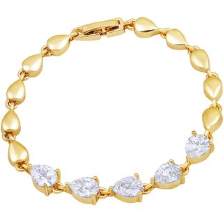 Asmitta Bewitching Pear Shape Stone Gold Plated Bracelet For Women