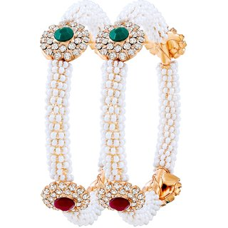 Asmitta Trendy Gold Plated Fancy Stone Bangle Set For Women