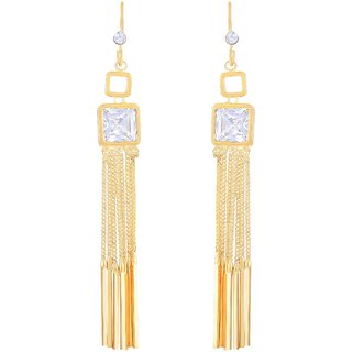 Asmitta Angelic Square Shape With Long Chain Gold Plated Hanging Earring For Women