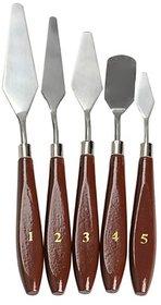 Skywalk 5 Pcs Artist Painting Palette Oil Paint Knives Spatula Set with Wooden Handle