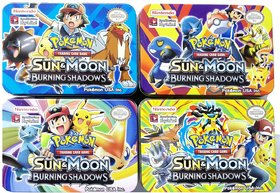 Pokemon Go Sun and Moon Burning Shadows Trading Card Game Multicolor Cartoon Metal Tin Pack with 42 Cards