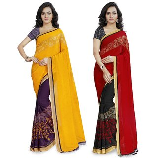 Anand Sarees Red  Yellow Georgette Printed Saree With  Combo ( COMBO_1190_2_1190_3 )