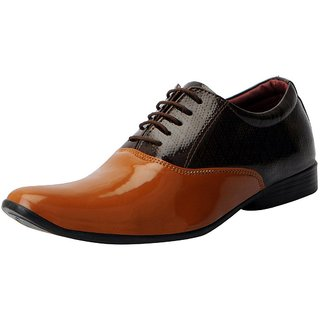 Fausto MenS Tan Formal Lace-Up Shoes