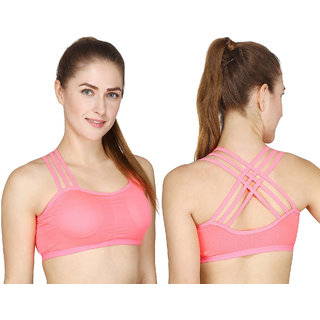 Royal Girl's Light Pink CrossBack Padded Sports Bra (Removel Padded)