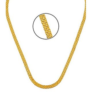 Gold Plated Double Kamal Flat Fine Handmade Unisex CHAIN With 6 months Warranty 22 Inches For  Men's  Women's, TV chain