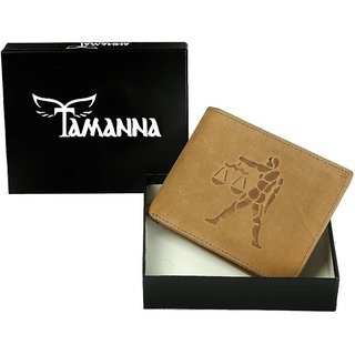 Tamanna Men Tan Genuine Hunter Leather Wallet (8 Card Slots) Big coin pocket with Libra Zodiac sign