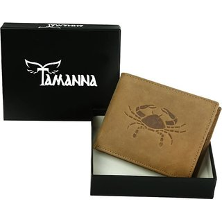 Tamanna Men Tan Genuine Hunter Leather Wallet (5 Card Slots) small coin pocket with Cancer Zodiac sign