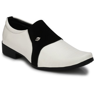 BB LAA Men's White Slip on Smart Formals Shoes