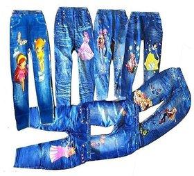 Kids Girls Cartoon Jeggings Leggings Pants 2 Pcs (4-5 Years Girls)