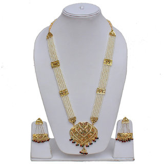 e99153f25085b Lucky Jewellery Designer Magenta Green Color Gold Plated Pearl Layered  Guluband Necklace With Earring For Girls & Women