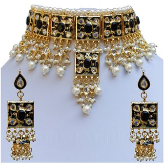 Lucky Jewellery Designer Black Color Stone And Pearl Necklace Set For Girls & Women