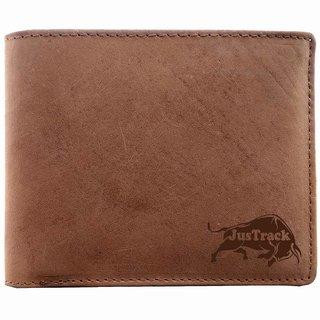Justrack Men Brown Genuine Hunter Leather Wallet  (6 Card Slots)