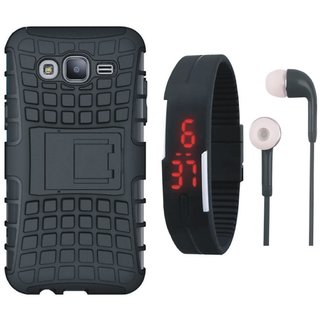 Redmi Note 3 Shockproof Kick Stand Defender Back Cover with Digital Watch and Earphones