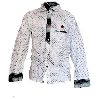 Faynci premier Solid Casual White Shirt for Boy