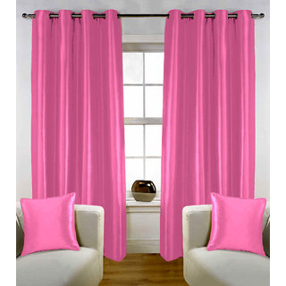 Enaakshi Set of 2 Exclusive  Partial  Blackout 7 Feet Door curtains for all rooms . Best and Heavy Curtains .Value for Money. Color - Pink