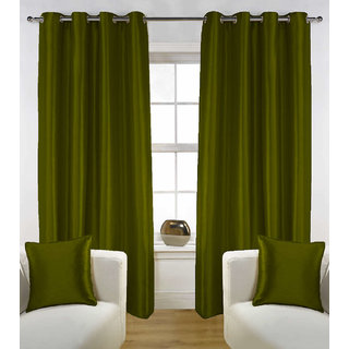 Enaakshi Set of 2 Exclusive  Partial  Blackout 7 Feet Door curtains for all rooms . Best and Heavy Curtains .Value for Money. Color - Green