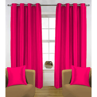 Enaakshi Set of 2 Exclusive  Partial  Blackout 7 Feet Door curtains for all rooms . Best and Heavy Curtains .Value for Money. Color - Magenta