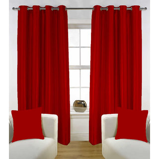 Enaakshi Set of 2 Exclusive  Partial  Blackout 7 Feet Door curtains for all rooms . Best and Heavy Curtains .Value for Money. Color - Maroon