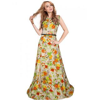 Buy Aika Womens Banglory Silk Satin Readymade Gown Orange G 44