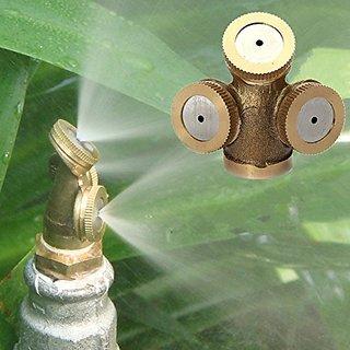 Futaba 3 Hole Adjustable Brass Spray Misting Nozzle Gardening Sprinklers Female/ Internal Thread With Nozzle/Adapter