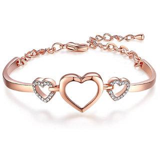 Om Jewells Valentine Collection Rose Gold Plated Adjustable Love Heart Bracelet with Crystal for Girls BR1000022