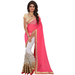 Fashion Fiza Women's Pink and Cream Colored Wedding Georgette  Embroidery Saree With Blouse pis