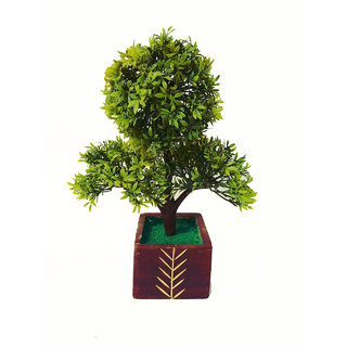 Adaspo Artificial Green Three Headed Plant in Wooden  Pot