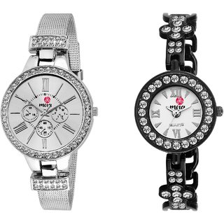 Meia Silver and Black Watches for Girls and Women