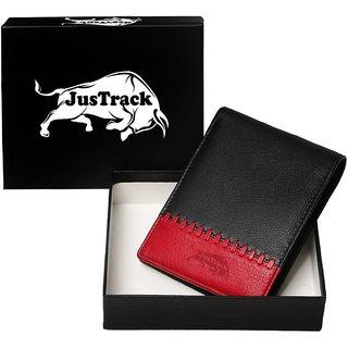 WalletLee Men Black, Red Genuine Leather Wallet  (1 Card Slot)