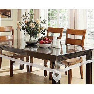 Khushi Creations Dining Table Cover Transparent 6 Seater 60x90 Inches (Silver Lace)