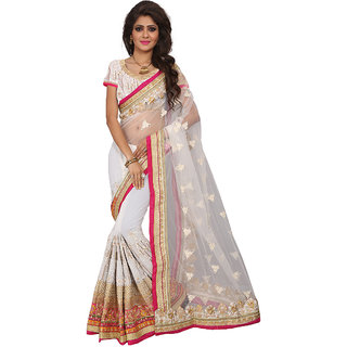 Fashion Fiza Women's OFF White Colored Wedding Georgette Net  Embroidery Saree With Blouse pis