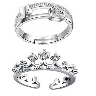 Om Jewells Cz Jewellry Combo of Adjustable Proposal Heart Ring and Queen's Crown  Ring for Girls and Women CO1000098