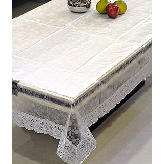 Khushi Creations Transparent 3D Design Center Table Cover 4 Seater 4060 Inches (Silver Lace)