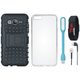 Redmi A1 Defender Back Cover with Kick Stand with Silicon Back Cover, Digital Watch, Earphones and USB LED Light