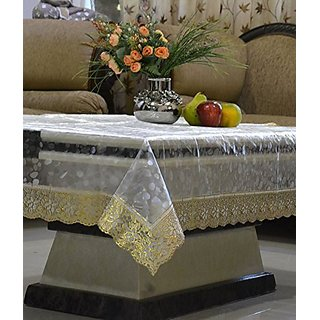 Khushi Creations Transparent Dining Table Cover 6 Seater Diamond Golden Lace 60 X 90 inches