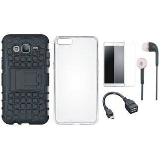 Oppo F3 Plus Defender Tough Hybrid Shockproof Cover with Silicon Back Cover, Tempered Glass, Earphones and OTG Cable