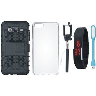Oppo F3 Defender Tough Armour Shockproof Cover with Silicon Back Cover, Selfie Stick, Digtal Watch and USB LED Light