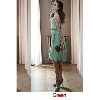 Elegant Pleated Vest Chiffon Sleeveless Dress With Bow & Round Collar In Green