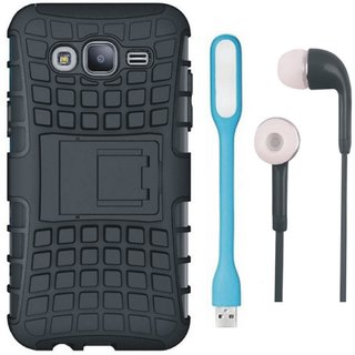 Oppo F3 Shockproof Kick Stand Defender Back Cover with Earphones, USB LED Light and USB Cable