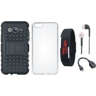 Oppo F3 Plus Shockproof Tough Armour Defender Case with Silicon Back Cover, Digital Watch, Earphones and OTG Cable