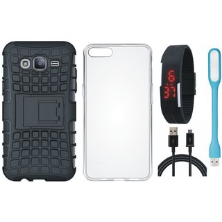 Vivo V5 Shockproof Tough Armour Defender Case with Silicon Back Cover, Digital Watch, USB LED Light and USB Cable