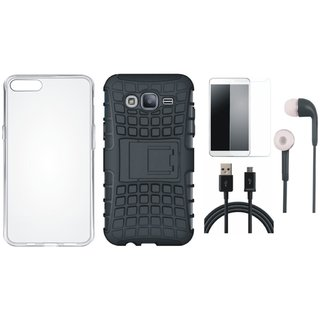Oppo F3 Defender Back Cover with Kick Stand with Silicon Back Cover, Tempered Glass, Earphones and USB Cable