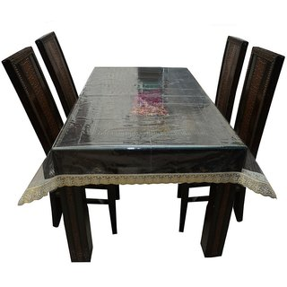 Khushi Creations Dining Table Cover Transparent 6 Seater 60x90 Inches (Golden Lace)