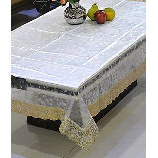 Khushi Creations Transparent 3D Design Center Table Cover 4 Seater 4060 Inches (Golden Lace)
