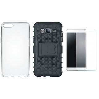 Vivo V3 Shockproof Tough Armour Defender Case with Silicon Back Cover, Tempered Glass