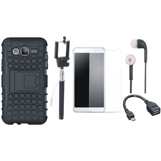 Vivo V3 Shockproof Tough Armour Defender Case with Free Selfie Stick, Tempered Glass, Earphones and OTG Cable