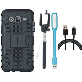 Vivo V3 Shockproof Kick Stand Defender Back Cover with Selfie Stick, USB LED Light and USB Cable