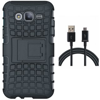 Vivo V3 Shockproof Kick Stand Defender Back Cover with USB Cable
